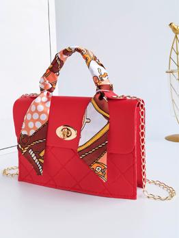 Attractive Silk Scarf Rhombus Lattice Handbags