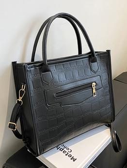 Versatile Casual Solid Zipper Tote Bag For Women