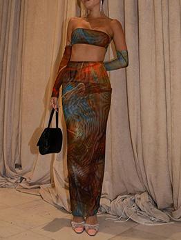 Sexy Gauze Off Shoulder Crop Top Skirt Set