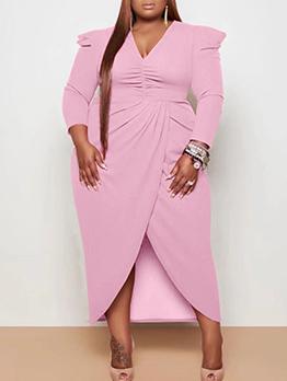 Plus Size V Neck Solid Maxi Dress