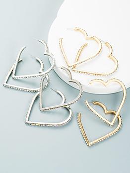 Exaggerated Colored Rhinestone Heart Earrings