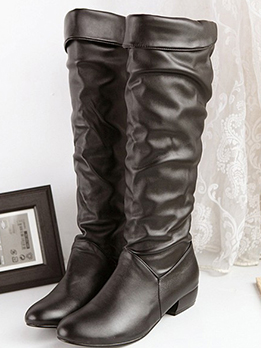 Fashion Ruched Round Toe Mid Calf Boots