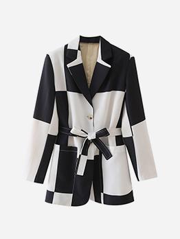 Casual Contrast Color Long Sleeve Blazer Coat