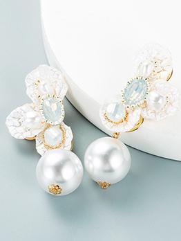 Sweet Elegant Faux-Pearl Flower Earrings