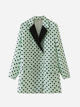 Leisure Dots Printed Long Sleeve Women Blazer Coat