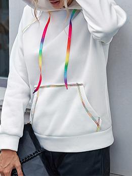 Plaid White Versatile Casual Women Hoodies
