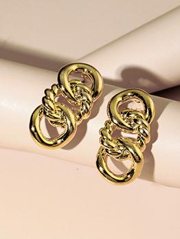 Metal Twist Hollow Out Golden Earrings