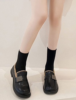 Preppy Style Vintage Fall Plush Slip On Shoes