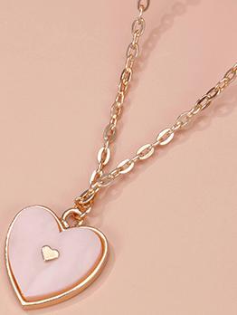 Designer Pink Heart Alloy Women Necklace