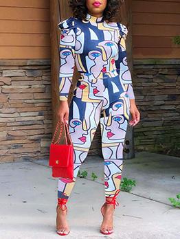 Fashion Mock Neck Long Sleeve Pants Set