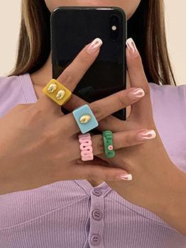 Cute Animal Square Acrylic Ring Set
