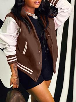 Fashion Contrast Color Striped Baseball Coat