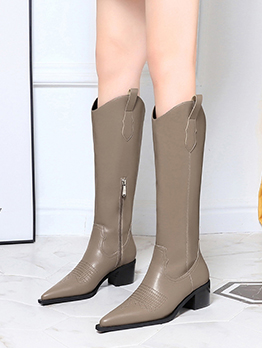 Pointed Toe Vintage Mid Calf Boots For Ladies