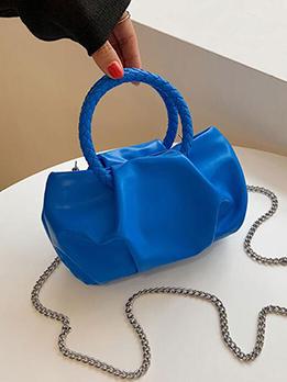 Chic Ruched Solid Chain Shoulder Handbag For Women