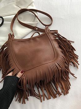 Chic Vintage Solid Tassel Tote Bag For Women