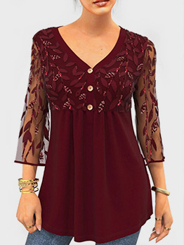 Lace Sequined Plus Size T-Shirt For Women