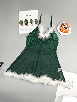 Faux Fur Christmas Gauze Two Piece Sets