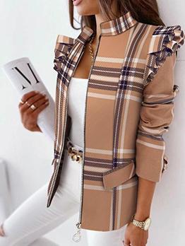 Ruffled Design Print Zipper Outerwear Women