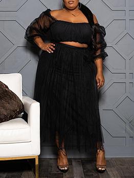 Gauze Patchwork Fashion Plus Size Long Skirt Set