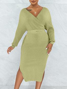 Sexy V Neck Solid Rib Long Sleeve Dresses