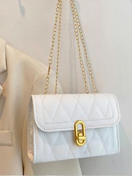 Simple Rhombus Lattice Golden Chain Shoulder Bags