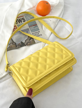 Rhombus Lattice Pure Color Simple Design Shoulder Bag