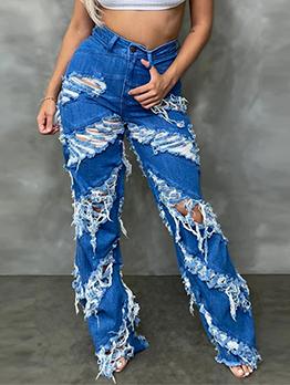 Individual Zipper Up Ripped Denim Jeans