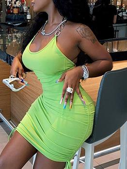 Seductive Solid Backless Green Halter Dress