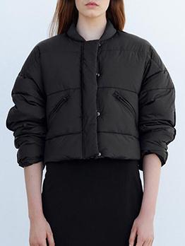 Fashion Black Stand Collar Puffer Coat