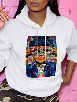 Printed Leisure Hoodies Sweatshirt For Women