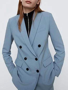Casual Khaki Slim Fit Blazers Clothing For Women