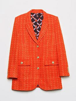 New Pocket Orange Ladies Blazer Coat