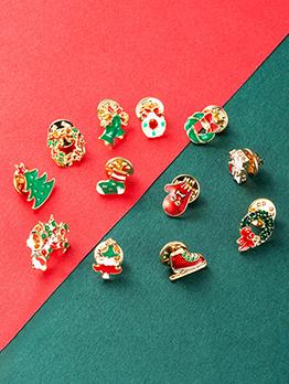 Cute Bell Sock Wreath Christmas Brooch