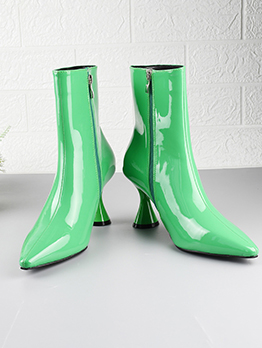 Fashion Point Toe Patent Leather Ankle Boots