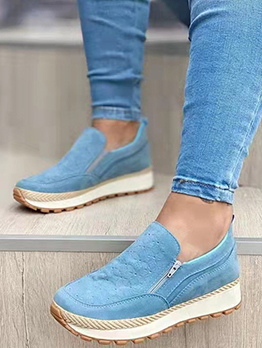 Solid Casual Chunky Soles Slip On Shoes