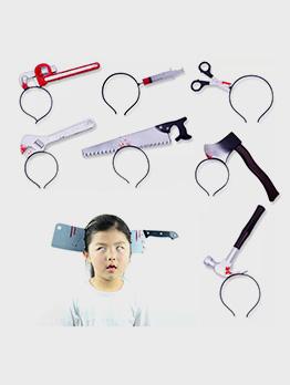 Halloween Funny Head Axe Simulation Weapon Hair Hoop