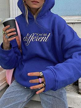 Letter Fashion Casual Versatile Blue Hoodies