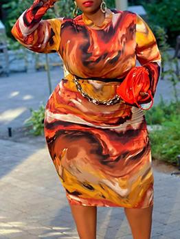 Printed Autumn Plus Size Long Sleeve Dress
