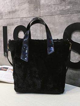 Winter Fluffy Black Tote Bag For Women
