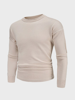Casual Solid Crew Neck Knitting Sweater Men