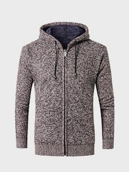 Fashion Front Zipper Long Sleeve Hoodie Coat