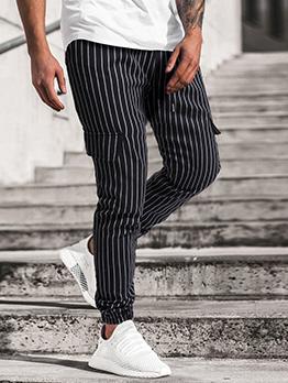Street Pocket Mid Waist Striped Long Pants