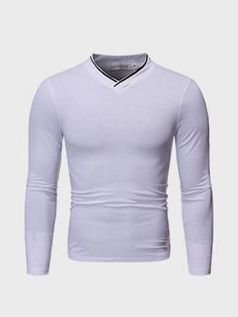 V Neck Long Sleeve T Shirt For Men