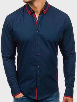 Contrast Color Single Button Casual Shirts Men