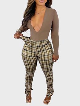 Plaid Fashion Skinny Long Pants For Women