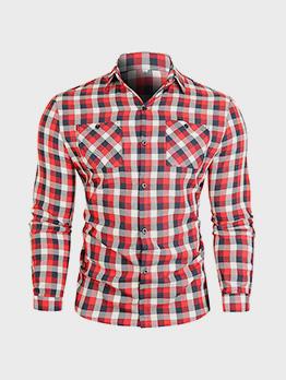 Contrast Color Plaid Long Sleeve Shirts For Men