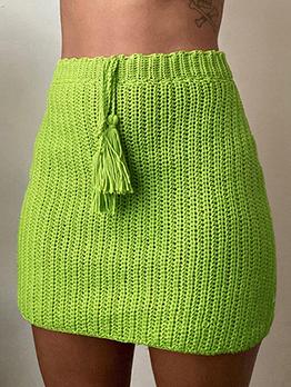 High Waist Fitted Knitted Green Skirt