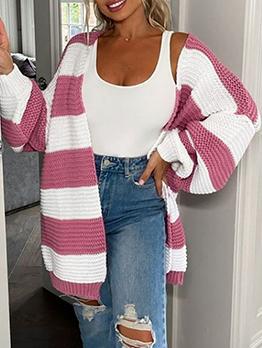 Contrast Color Fashion Cardigan Sweater Coat