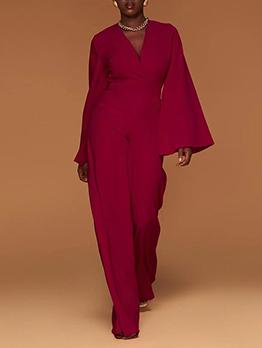 Autumn Casual V Neck Solid Plus Size Jumpsuits