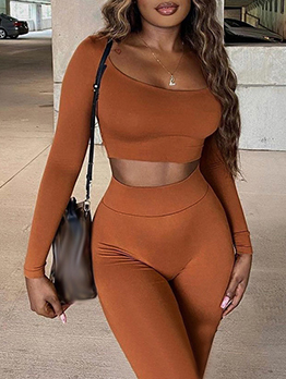 Solid Casual Skinny Long Trouser Set